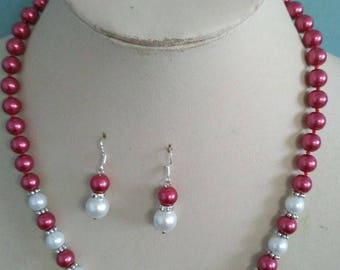 10% OFF- 18 in/460 mm L-Certified Natural Fine Red White South Sea Shell Pearl Necklace + Earrings