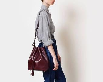 Womens leather bucket bag, leather bucket tote, crossbody bag, leather shoulder bag black, oxblood, burgandy