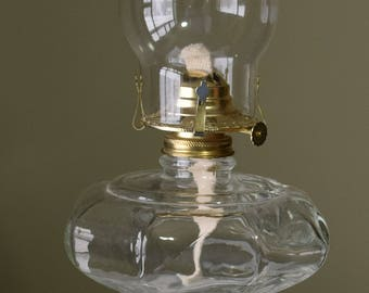 Clear Glass Oil Lamp / Vintage Oil Lamp/