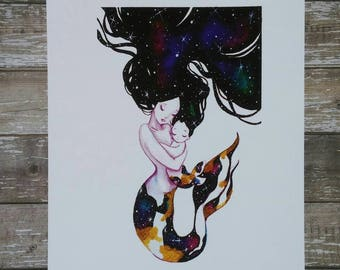 Mer-Mama's Love 8x10 Inch mother's love themed Art Print (Inspired by a mother's love, babies and mermaids)
