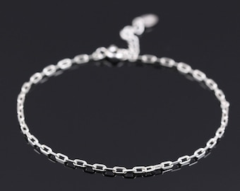 Thin Silver Chain Bracelet, Sterling Silver Bracelet, Dainty Silver Bracelet, Silver Bracelet Women, Delicate silver bracelet, Silver Charm