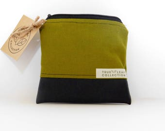 Coin Purse // Olive Green on Black // True Leaf Collection