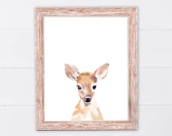 Deer print | Woodland animals | PRINTABLE Art | Nursery decor | Animal art | Baby animals | Nursery wall art | Deer Wall Art