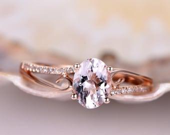 Morganite ring,8x6mm oval cut pink morganite engagement ring,diamond  ring,solid 14k rose gold,natural morganite,bridal ring,promise ring