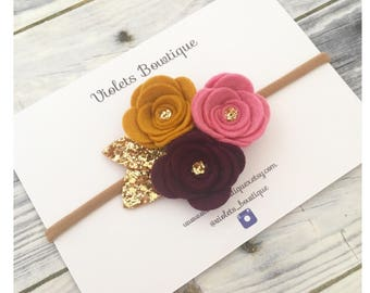 Trio felt flower cluster, gold glitter leaves, autumn flower headband, fall flower headcrown