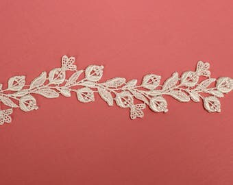 "1"" Floral Lace trim, bridal lace, wedding trim, floral trim, lace by the yard, scalloped lace trim, boho wedding, costume design. (LC20096)"