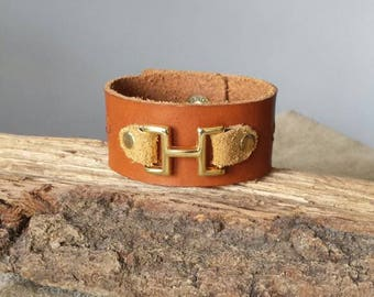 Stands with Fists leather cuff  bracelet