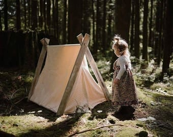 Play A-Frame Tent Teepee White Lace Distressed Rustic