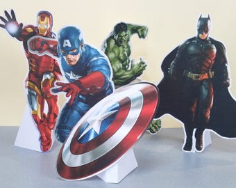 large a4 die cut shapes inspired by superheroes to decorate the table