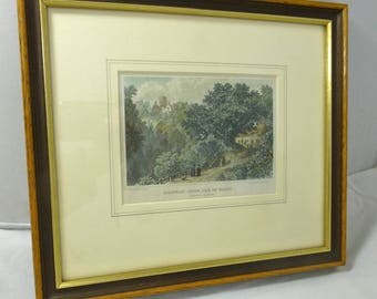 Framed Antique Hand Coloured Engraving Print of Shanklin Chine, Isle of Wight – P Brannon 1843 - Wood and Gilt Frame
