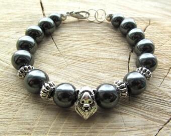 Black hematite-bracelets-Men's bracelet-Men's jewelry-handmade bracelet-prosperity bracelet-