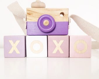 XOXO Blocks shelf decor wood nursery decor set of four