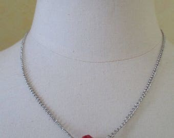 silver necklace chain and Red bead