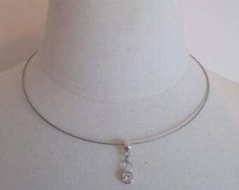 pendant necklace silver and zirconium