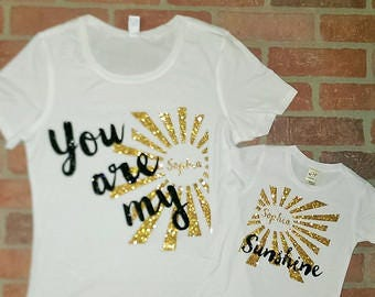 Personalised You are my sunshine matching Mother and child/ Baby ( Newborn- 10 yrs)