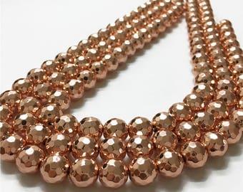 10mm Faceted  Hematite Beads, Rose Gold Hematite Beads, Hematite Jewelry