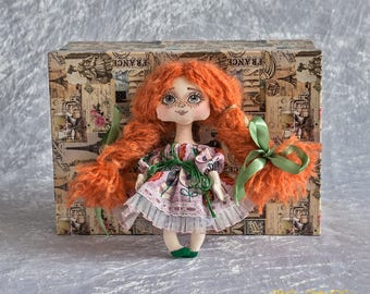 Interior Textile Art Doll, Fabric Doll, Custom Rag Doll, Toy Souvenir, Mini Doll with Red Hair, Unique Gift, Primitive Doll, Hand-painted