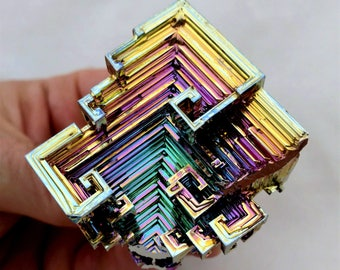 Rainbow Bismuth Crystal 95g Lab Grown Jewelry Display Specimen Educational Metaphysical Metal Healing Stone