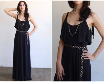 1970s Black Maxi Dress with pleated top