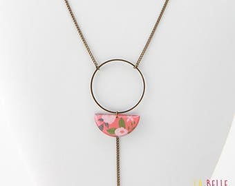 Necklace long pendant half moon resin coral floral pattern