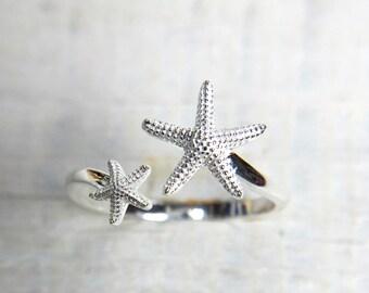 Starfish Ring, Dancing Star Ring, Silver thumb Ring