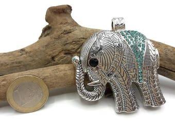 Silver Elephant pendant Antique and semi precious aquamarine - A028 rhinestones