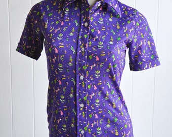 1960s Clown Circus Print Short-Sleeved Button-up Top with Collar Mold