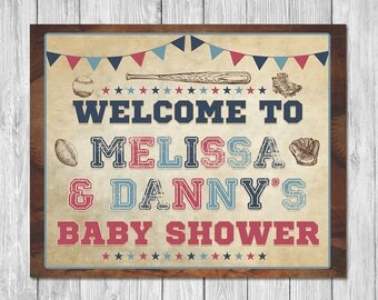 Vintage Sports Baby Shower Welcome Sign - Baby Shower Sign - Sports Baby Shower - All Star Baby - Baseball Baby Shower - Couples Baby Shower