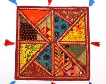 Handmade Hippie Gypsy Home Decor Ethnic Multi color Embroidered Hippy Patchwork Bohemian Pillow Shams Couch Cushion Cover Case G773