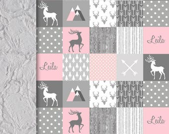 NEW! Personalized Deer Baby minky blanket, pink gray deer blanket, faux quilt woodland blanket, girl blanket, baby shower gift, mini peony