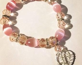 Gemstone Bracelets - Artisan Bracelet - Stretch Bracelets - Bracelet - Pink Bracelet - Blue Agate - Agate Bracelet - Bohemian