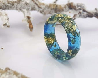 Resin Ring With Gold Flakes - Thin Faceted Band Ring - Resin Stacking Ring - Minimal Resin Jewelry