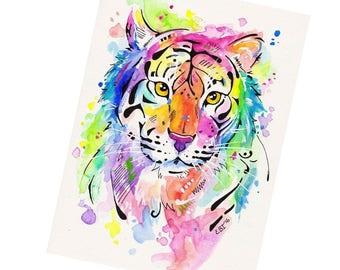 Fridge Magnet, Watercolour Tiger, Art fridge magnet, Small gift idea, Gift under 5, Kitchen decor, Tiger lover gift, Tiger decor