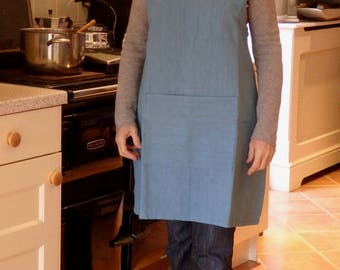 Mineral Blue Crossover Apron made from a Vintage French Metis Linen Sheet Size 10-12