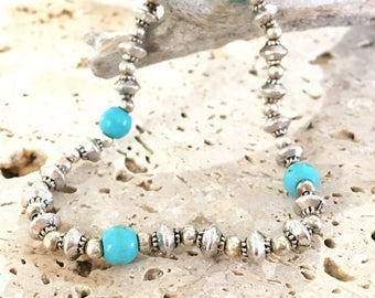 Bracelet silver and turquoise elastic stretch hippie