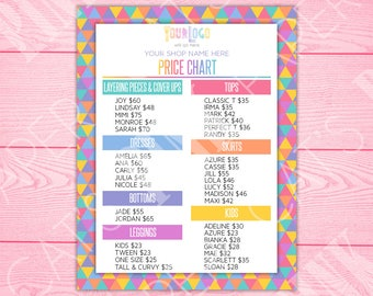 Price Chart | Rainbow Triangles | Customize