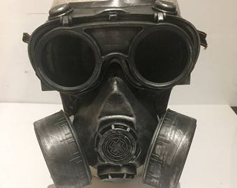 Steampunk Respirator Gas Mask And Goggles, Post Apocalyptic Survival, Mad Max, Burning Man, Wasteland Style With Flip Up Goggles