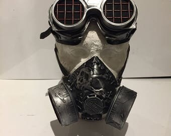Steampunk Respirator Gas Mask And Goggles, With Skull And Crossbones Design Post Apocalyptic Survival, Mad Max, Burning Man, Wasteland Style