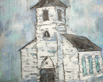 Old Country Church/Impressionism/Original Acrylic Painting/Gallery Wrapped Canvas/Blue/Grey/White/Vintage/Aqua