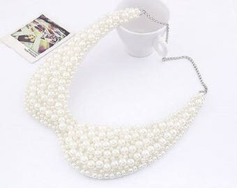 Fashionable White Imitate Pearl Collar  Necklace / Bib