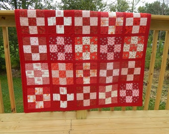 Red & White Nine Patch Baby Quilt