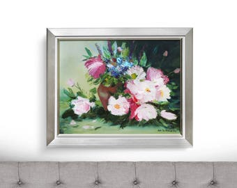 Oil painting still life, original oil painting, flowers oil painting, framed art, pink peonies painting, green small painting, peony art