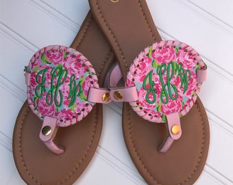 Lilly Pulitzer Monogram Shoes / Monogram Flip Flops / Monogram Bridesmaid Shoes / Spring Break Flip Flops / Honeymoon Flip Flops
