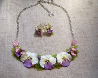 Kit with pansies, viola da gamba, flower ornament, earrings and necklace with flowers, gift, flowers from polymer clay