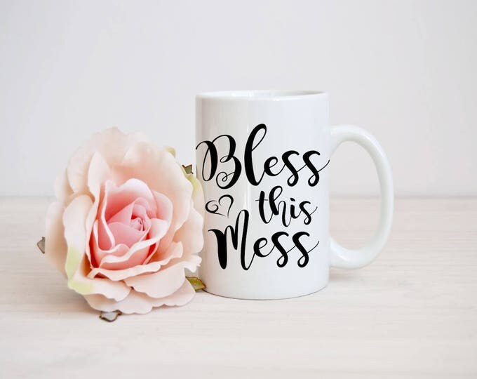 Bless This Mess Decal-Motivational Vinyl Decal-Blessed Iron On Decal-Yeti Decal