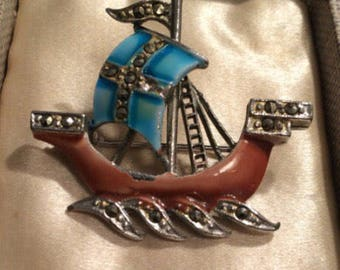 Vintage Jewellery, Vintage Brooch, Emamel and Marcasite Sail Boat Brooch, Enamel Brooch Pin, Enamel and Marcasite Brooch, Vintage Jewelry
