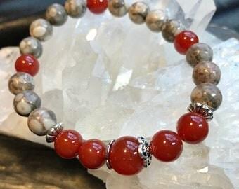 One of a Kind, Carnelian and Maifanite Gemstone Bracelet