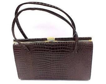 Vintage Dark Brown Genuine Leather Framed Handbag - 1950s