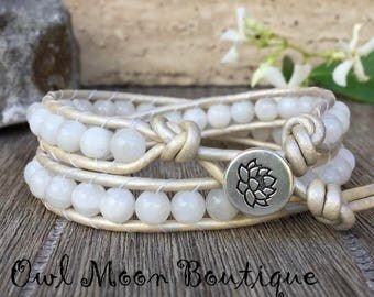 Moonstone Gemstone Leather Wrap Bracelet with White Metallic Leather