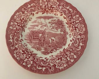 Plates,Royal Tudor Ware, Ironstone,, Crazing ,Coaching Taverns , Red and Cream,Diner Plates, Coaching Tavern , Seven 7 inch